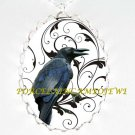 CROW RAVEN BLACK SWIRL TREE*  CAMEO PORCELAIN NECKLACE