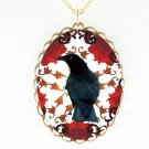 CROW RAVEN RED SWIRL FLOWER  *CAMEO PORCELAIN NECKLACE