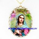 CATHOLIC CROWNED VIRGIN MARY ANGEL PORCELAIN NECKLACE