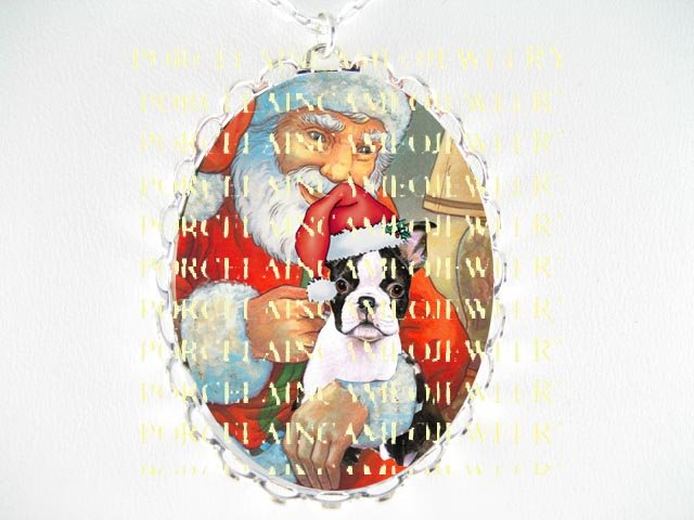 SANTA TICKLE BOSTON TERRIER DOG CAMEO PORCELAIN NECKLACE