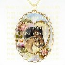 MARE FOAL  HORSE CUDDLING ROSE HEART  *CAMEO PORCELAIN NECKLACE