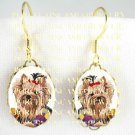 YORKSHIRE TERRIER DOG PANSY CAMEO PORCELAIN EARRINGS