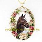ZENYATTA CHAMPION HORSE PINK ROSE PORCELAIN CAMEO NECKLACE