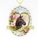 ZENYATTA CHAMPION HORSE ROSE HEART PORCELAIN CAMEO NECKLACE