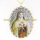 CATHOLIC SAINT TERESA AVILA CAMEO PORCELAIN NECKLACE 19