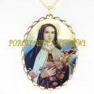 CATHOLIC SAINT TERESA AVILA CAMEO PORCELAIN NECKLACE 11