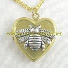 2 TONE HONEY BUMBLE BEE VINTAGE ANTIQUE HEART LOCKET NECKLACE
