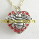 HONEY BUMBLE BEE RED PAVE CRYSTAL LACE HEART NECKLACE