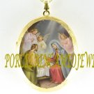 CHRISTMAS NATIVITY MANGER ANGEL PORCELAIN CAMEO LOCKET NECKLACE 19-7