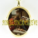 CHRISTMAS NATIVITY MANGER PORCELAIN CAMEO LOCKET NECKLACE 19-12