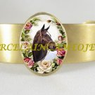 ZENYATTA CHAMPION HORSE PORCELAIN CAMEO ANTIQUE VINTAGE BANGLE CUFF BRACELET