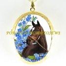 ZENYATTA CHAMPION HORSE FORGET ME NOT * CAMEO PORCELAIN LOCKET NECKLACE