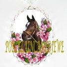 ZENYATTA CHAMPION HORSE PINK FORGET ME NOT PORCELAIN CAMEO NECKLACE