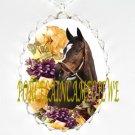 ZENYATTA CHAMPION HORSE YELLOW ROSE VIOLET PORCELAIN CAMEO NECKLACE