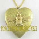 BIG BUMBLE BEE VINTAGE ANTIQUE HEART LOCKET NECKLACE