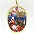 BEAUTY AND BEAST CAMEO PORCELAIN LOCKET NECKLACE