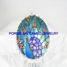 MOSAIC DESIGN PEACOCK BIRD PORCELAIN CAMEO ADJ RING 5-9