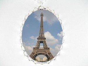 PARIS EIFFEL TOWER PORCELAIN CAMEO PENTANT NECKLACE SIL