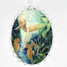 BABY MERMAID SEAHORSE PORCELAIN CAMEO PENDT NECKLACE