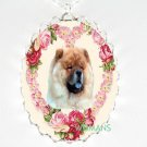 CHOW CHOW VICTORIAN ROSE HEART PORCELAIN CAMEO NECKLACE