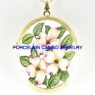 BEAUTIFUL PINK DOGWOOD FLOWER CAMEO PORCELAIN LOCKET NE
