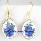 FORGET ME NOT FLOWER CAMEO PORCELAIN EARRINGS