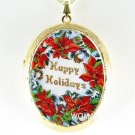 CHRISTMAS POINSETTIA PORCELAIN CAMEO LOCKET NECKLACE