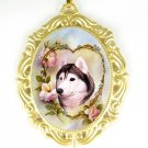 SIBERIAN HUSKY DOG ROSE HEART PORCELAIN CAMEO NECKLACE