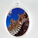 LEOPARD MOM AND BABY CAMEO PORCELAIN LOCKET NECKLACE
