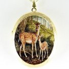 DEER MOM BABY PORCELAIN CAMEO LOCKET PENDANT NECKLACE