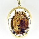 JESUS LION OF THE JUDAH PORCELAIN CAMEO LOCKET NECKLACE