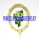 LILY OF THE VALLEY OPAL PORCELAIN CAMEO PIN BROOCH