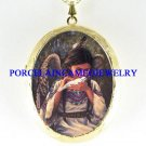 NATIVE INDIAN ANGEL PORCELAIN CAMEO LOCKET NECKLACE