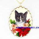 CHRISTMAS BLACK WHITE KITTY CAT POINSETTIA HOLY BERRY CAMEO PORCELAIN NECKLACE