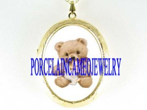 BABY ANGEL TEDDY BEAR PORCELAIN CAMEO LOCKET NECKLACE