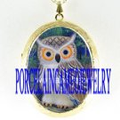 SMART  NIGHT OWL PORCELAIN CAMEO LOCKET NECKLACE