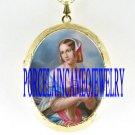 VICTORIAN MAIDEN LAD PORCELAIN CAMEO LOCKET NECKLACE