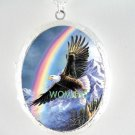 AMERICAN EAGLE RAINBOW CAMEO PORCELAIN LOCKET NECKLACE
