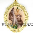2 BABY BEARS W/BEE PORCELAIN CAMEO PENDANT NECKLACE