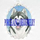 SIBERIAN HUSKY DOG PORCELAIN CAMEO PENDANT NECKLACE