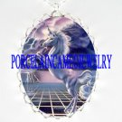 PURPLE UNICORN LIGHTING PORCELAIN CAMEO PENDT NECKLACE