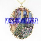 BLUE PEACOCK BIRD FLORAL PORCELAIN CAMEO PENDT NECKLACE