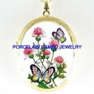 BUTTERFLY PINK THISTLE CAMEO PORCELAIN LOCKET NECKLACE