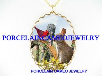 RABBIT BUNNY WITH CARDINAL BIRD MORNING GLORY FLOWER* CAMEO PORCELAIN NECKLACE