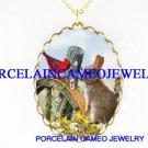 RABBIT BUNNY WITH CARDINAL BIRD MORNING GLORY FLOWER* CAMEO PORCELAIN NECKLACE