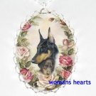 DOBERMAN PINSCHER MOM PUPPY ROSE PORCELAIN NECKLACE