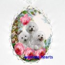 3 BICHON FRISE ROSE GARDEN PORCELAIN CAMEO NECKLACE