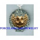 SMART OWL BIRD * FILIGREE PERFUME SILVERTONE LOCKET