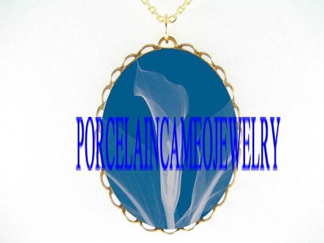 OCEAN BLUE CALLA LILY FLOWER* CAMEO PORCELAIN NECKLACE