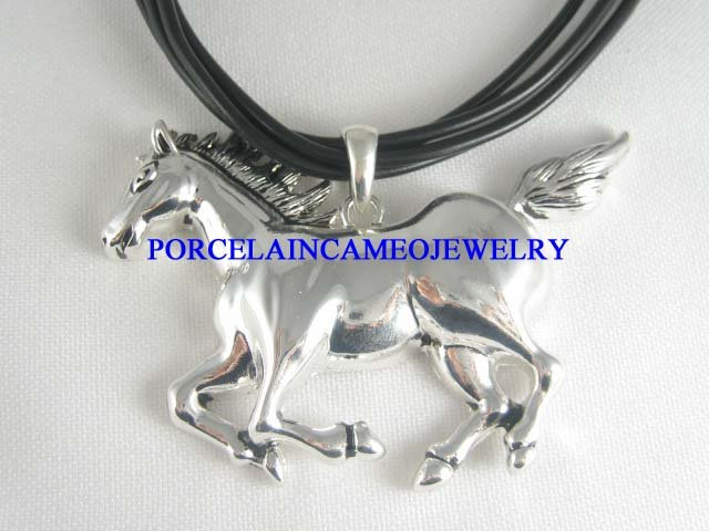 RUNNING SILVER STALLION HORSE BEAD MULTI CHAIN NECKLACE